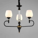 3/6 Lights Flower Chandelier Traditional Frosted Glass Suspension Light in Black for Kitchen