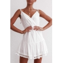 Womens New Fashion Simple Plain Bow-Tied Straps V-Neck Backless Chic Tassel Hem Mini A-Line White Slip Dress