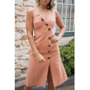 Women's Summer New Trendy Solid Color V-Neck Sleeveless Button Detail Midi slit Tank Dress