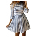 Women's Hot Fashion Striped Print Round Neck Long Half Sleeve Mini A-Line Dress