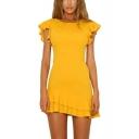 Women's Summer Trendy Plain Printed Round Neck Ruffle Short Sleeve Mini A-Line Casual Dress
