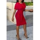 Women's New Stylish Short Sleeve Round Neck Plain Print Tied Waist Midi Bodycon Dress