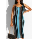 Summer Color Block Stripe Sleeveless Open Back Slip Maxi Dress