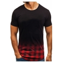 Men's New Stylish Round Neck Short Sleeve Ombre Color Plaid Fitted T-Shirt