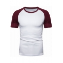 New Trendy Color Block Short Sleeve Round Neck Casual Sport T-Shirt for Men