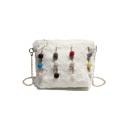 New Stylish Plain Colored Plush Ball Embellishment Crossbody Shoulder Bag 21*11*17 CM
