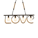 Vintage Beige Island Light with Love Shape 4 Lights Metal And Rope Island Lamp for Living Room