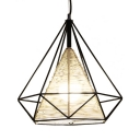 Black Diamond Pendant Light for Dining Room Modern Woven Single Drop Light with White Shade