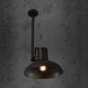 Metal Dome Pendant Lighting Single Light Antique Hanging Lamp in Black for Kitchen