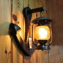 Rust Kerosene Hanging Lamp Outdoor Single Light Swirl Glass Sconce Wall Light with Anchor