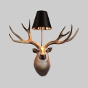 Vintage Style Deer Decoration Wall Light Resin Single Light Wall Sconce with Black Tapered Shade for Bedroom