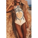 Vintage Ethnic Floral Printed Sleeveless One Piece Swimwear