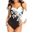 Womens Vintage Floral Printed Plus Size Black One Piece Swimsuit