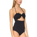 Womens Simple Plain Vintage Scalloped Edge Halter Neck Knotted Cutout Black One Piece Swimsuit