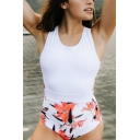 Womens New Fashion Floral Printed Knotted Back White One Piece Swimsuit Swimwear