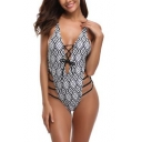 Womens Fashion Geometric Printed Sexy Strappy Hollow Out Black One Piece Swimsuit