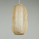 Single Light Capsule Pendant Lighting Rattan Vintage Style Ceiling Light Fixture for Dining Room