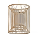 Drum Shape Rattan Ceiling Light Bedroom Foyer Single Light Antique Style Pendant Lighting in Beige
