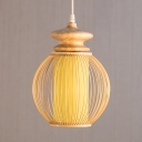 Melon Shape Coffee Shop Ceiling Light Rustic Style Bamboo Single Light Ceiling Fixture in Beige