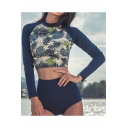 Fashion Tropical Printed Long Sleeve Surf Rashguard Blue Sunscreen Beach Two-Piece Swimwear