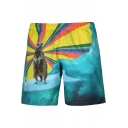 Guys Stylish Animal Printed Summer Surf Beach Swim Trunks with Lining