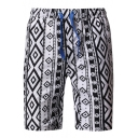 Summer Men's Trendy Geometric Printed Drawstring Waist White Beach Swim Shorts