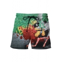 Guys Cool Comic Skull Character Printed Drawstring Waist Sport Loose Swim Trunks