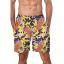 Men's Hot Fashion Camo Pineapple Pattern Elastic Waist Loose Casual Swim Trunks