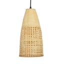 Bamboo Bell Shape Ceiling Light Single Light Antique Style Beige Hanging Light for Restaurant