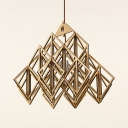 Vintage Style Beige Ceiling Light Fixture with Shape Single Bulb Wood Pendant Lighting