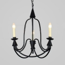 Traditional Candle Shape Pendant Lighting Metal 3/6 Lights Black Hanging Light Fixture for Bedroom