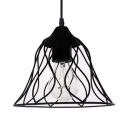 Black Flared Hanging Ceiling Light with Wavy Pattern One Light Industrial Metal Pendant Light