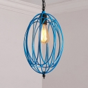 Single Light Oval Pendant Light with Colorful Metal Cage Height Adjustable Industrial Hanging Light