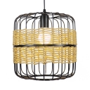 Cylinder Hanging Light Single Light Industrial Modern Metal Pendant Lighting in Black with Rope