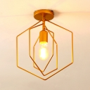 Gold Hexagon Frame Semi Flush 1 Light Modern Metal Ceiling Light for Enter Corridor