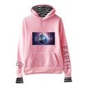 New Fashion Galaxy Earth Printed Fake Two-Piece Long Sleeve Casual Hoodie