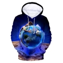 New Trendy Blue Earth 3D Pattern Basic Long Sleeve Pullover Drawstring Hoodie