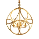 Classic Gold Pendant Lamp with Globe Shade 4 Lights Metal Chandelier for Dining Room Living Room