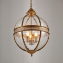 Candle Pendant Lamp with Glass Shade 3 Lights Antique Style Metal Chandelier for Living Room