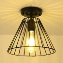 Vintage Style Black Ceiling Fixture with Tapered Cage Shade 1 Light Metal Flush Mount Light for Kitchen