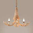 Rustic Style Deer Horn Chandelier Resin and Rope 3/5 Lights Beige Pendant Lighting for Bedroom Dining Room