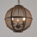 Cafe Restaurant Globe Chandelier Light Metal 3/5 Lights Antique Style Rust Pendant Lamp