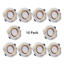 (10 Pack)European Style Circle Recessed Light 5W 2-3 Inch Ceramic Light Fixture Recessed in White/Warm for Kitchen Bedroom