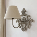 Antique Style Tapered Shade Wall Light 1 Light Metal and Fabric Sconce Lamp in White for Bedroom