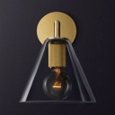 Metal and Glass Cone Wall Light Restaurant Study 1 Light Vintage Style Wall Lamp in Brass/Chrome/Black