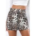 Hot Fashion Leopard Printed Zipper Front Fashion Mini Bodycon Skirt