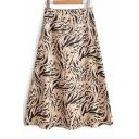 New Fashion Tiger Scale Printed Womens Summer Khaki Midi A-Line Flowy Skirt
