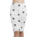Basic Simple Geometric Printed Fashion Slit Back White Knee Length Pencil Skirt