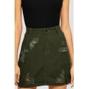 New Fashion Distressed Ripped Flap Pocket Side Army Green Mini A-line Denim Skirt