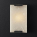 Metal and Marble Rectangle Wall Light Living Room Bathroom 1 Light Simple Style Wall Sconce in Black/Brass